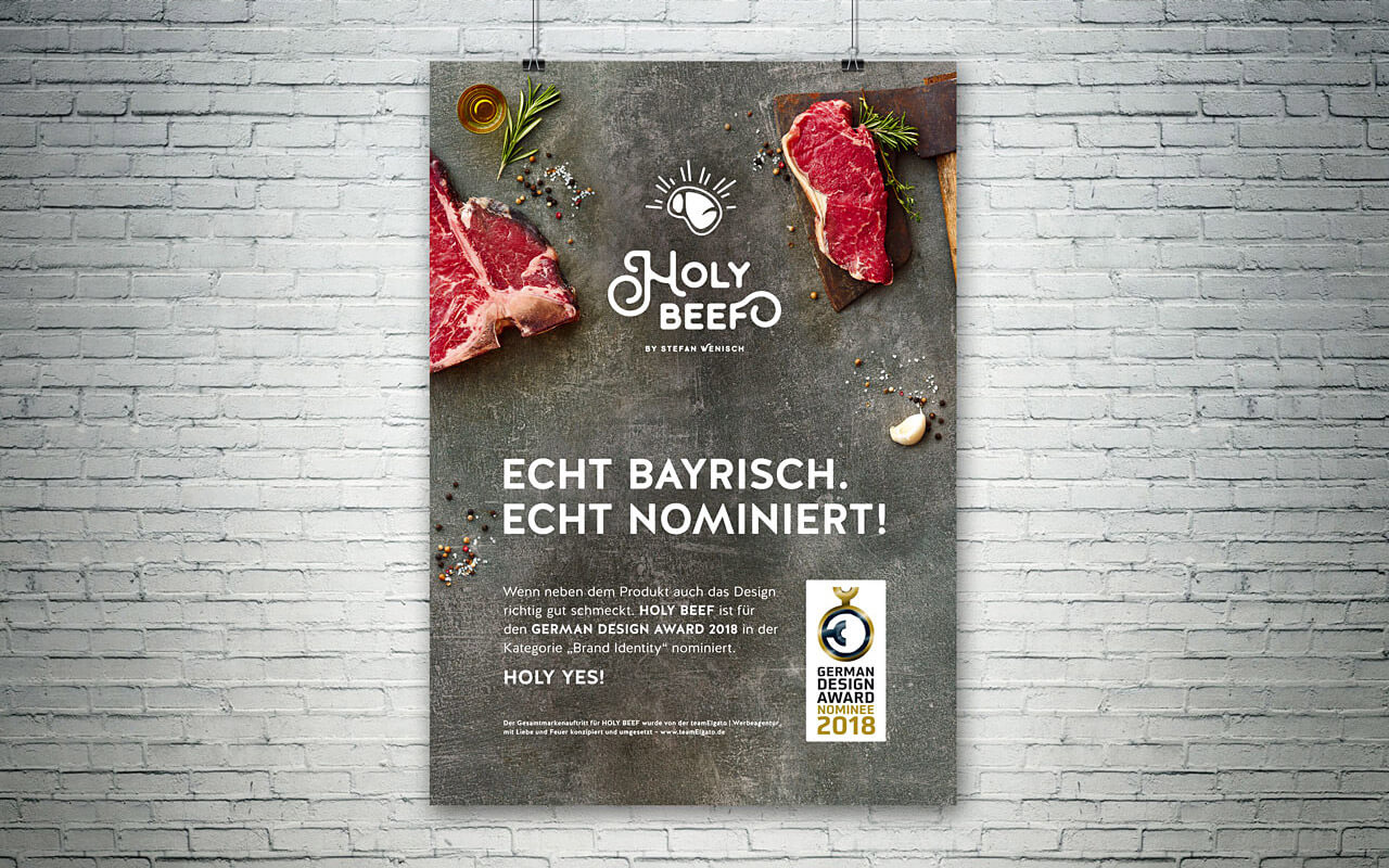 Nominierungsplakat von HOLY BEEF für den GERMAN DESIGN AWARD