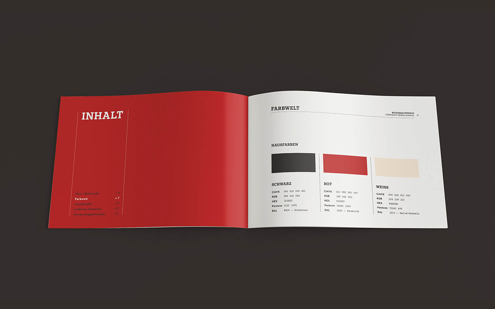 Auszug aus dem Corporate Design Manual der Metzgerei Wenisch