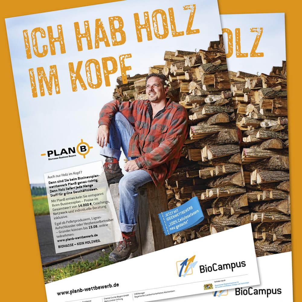 PlanB – Plakat »Ich hab Holz im Kopf«