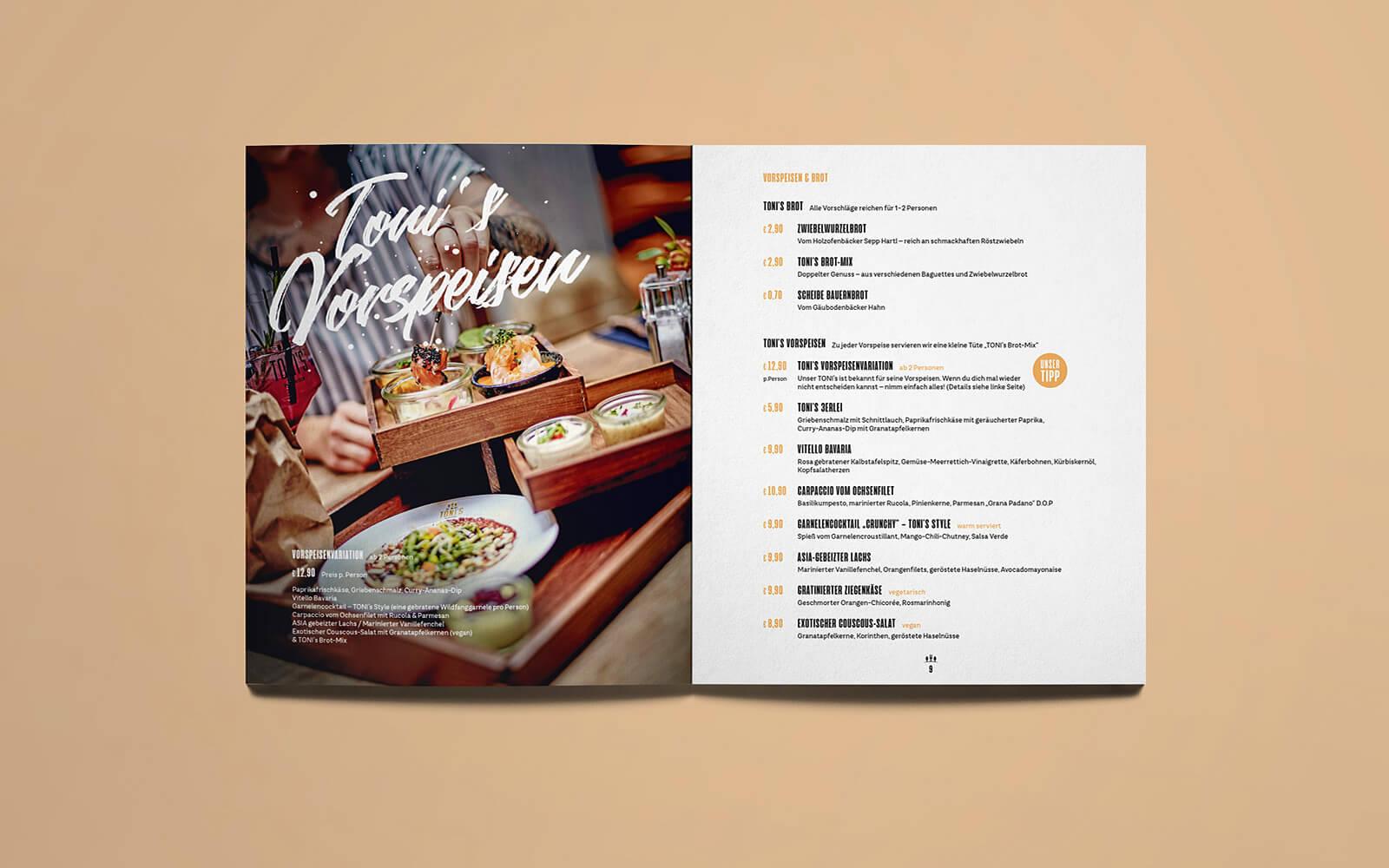TONI's Speisekarte – Vorspeisen