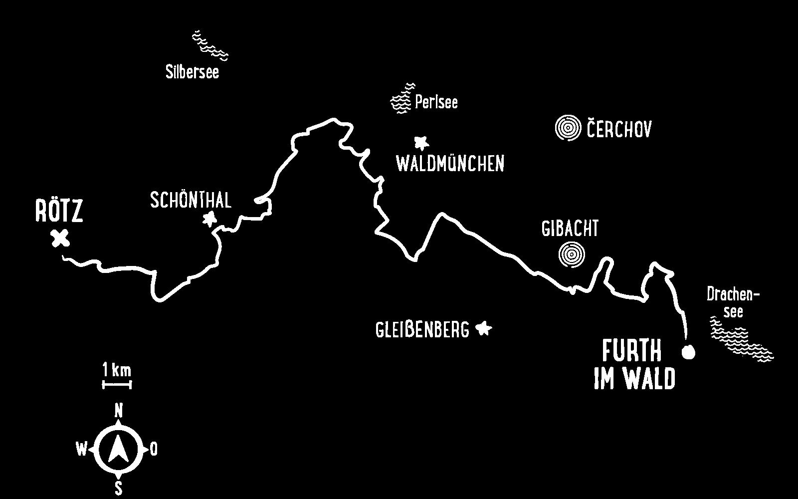 Trans Bayerwald – Stilisierte Karte der Etappe Süd-1