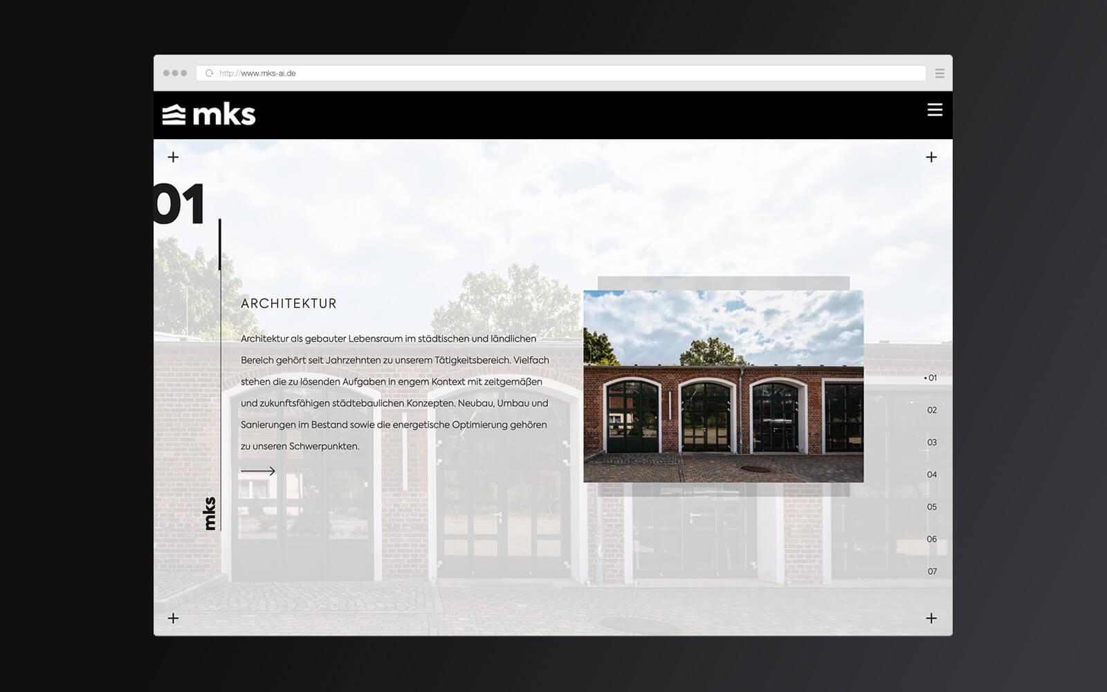 mks – Website Startseite Unterpunkte I