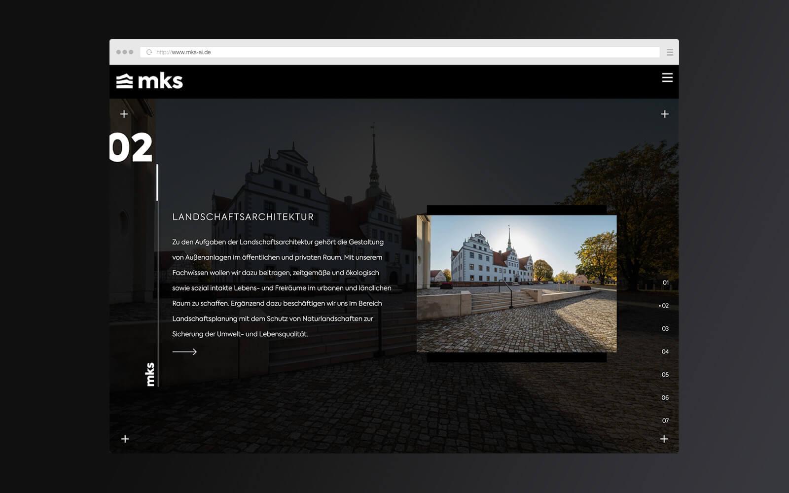 mks – Website Startseite Unterpunkte II