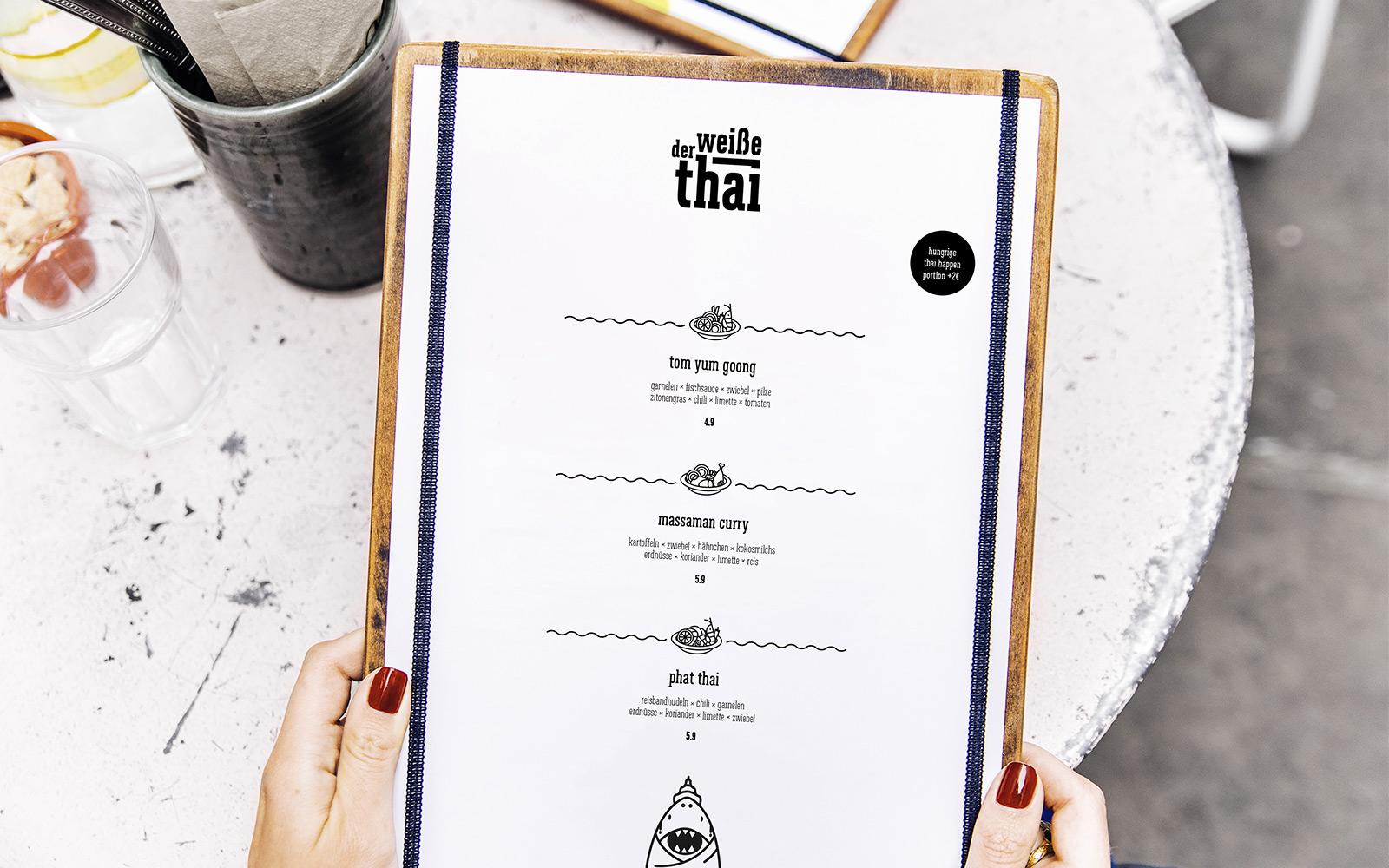 Der weiße Thai – Speisekarte
