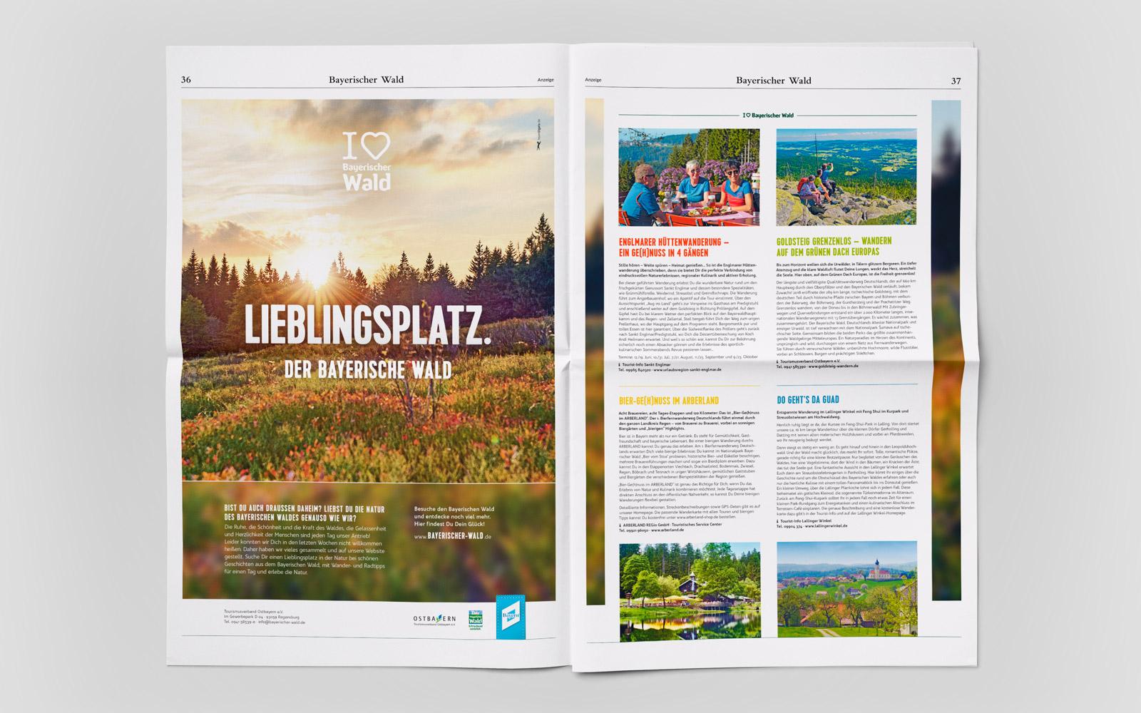 Imagekampagne »I love Bayerische Wald« – Zweiseitige Zeitungsanzeige »Lieblingsplatz«