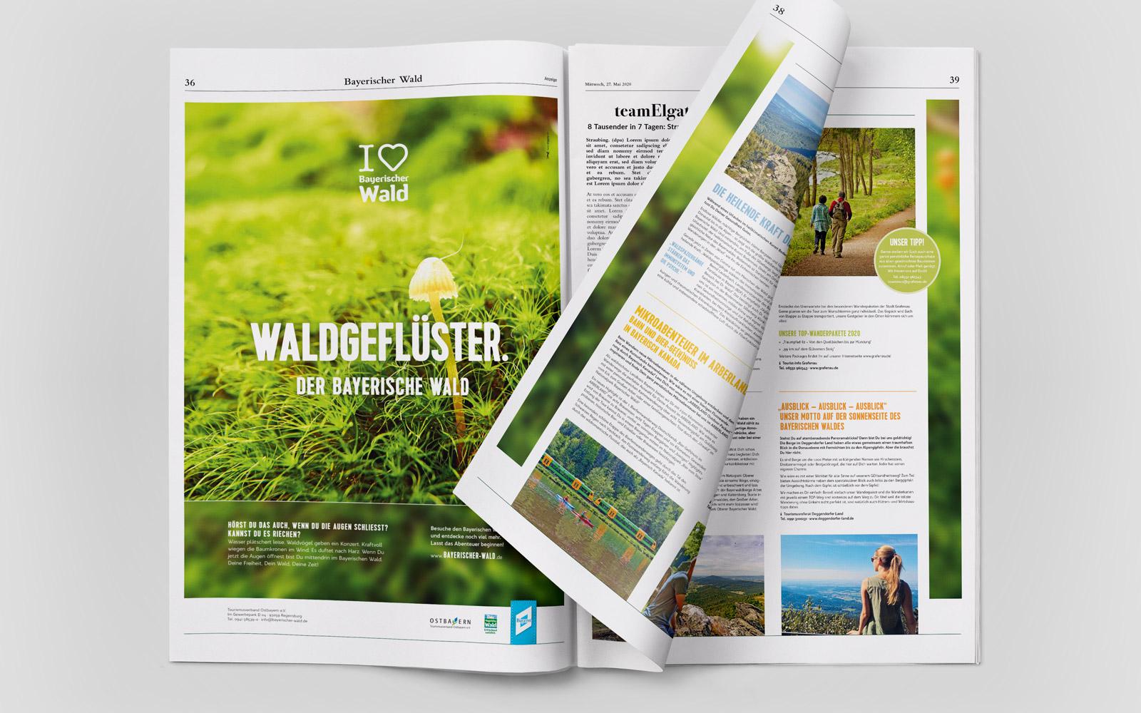 Imagekampagne »I love Bayerische Wald« – Dreiseitige Zeitungsanzeige »Waldgeflüster«