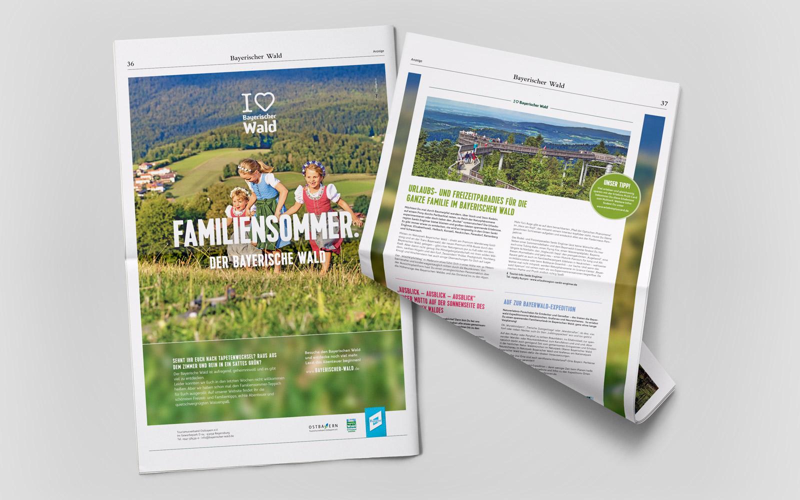 Imagekampagne »I love Bayerische Wald« – Zweiseitige Zeitungsanzeige »Familiensommer«