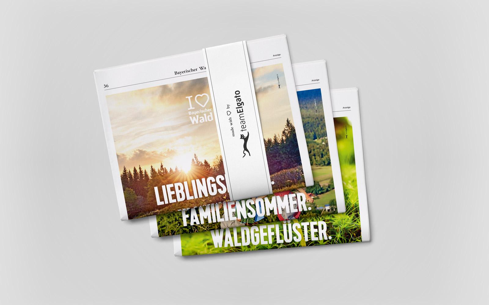 Imagekampagne »I love Bayerische Wald« – Zeitungsanzeigen