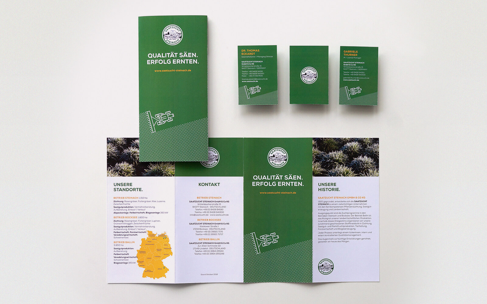 Saatzucht Steinach – Flyer & Visitenkarten