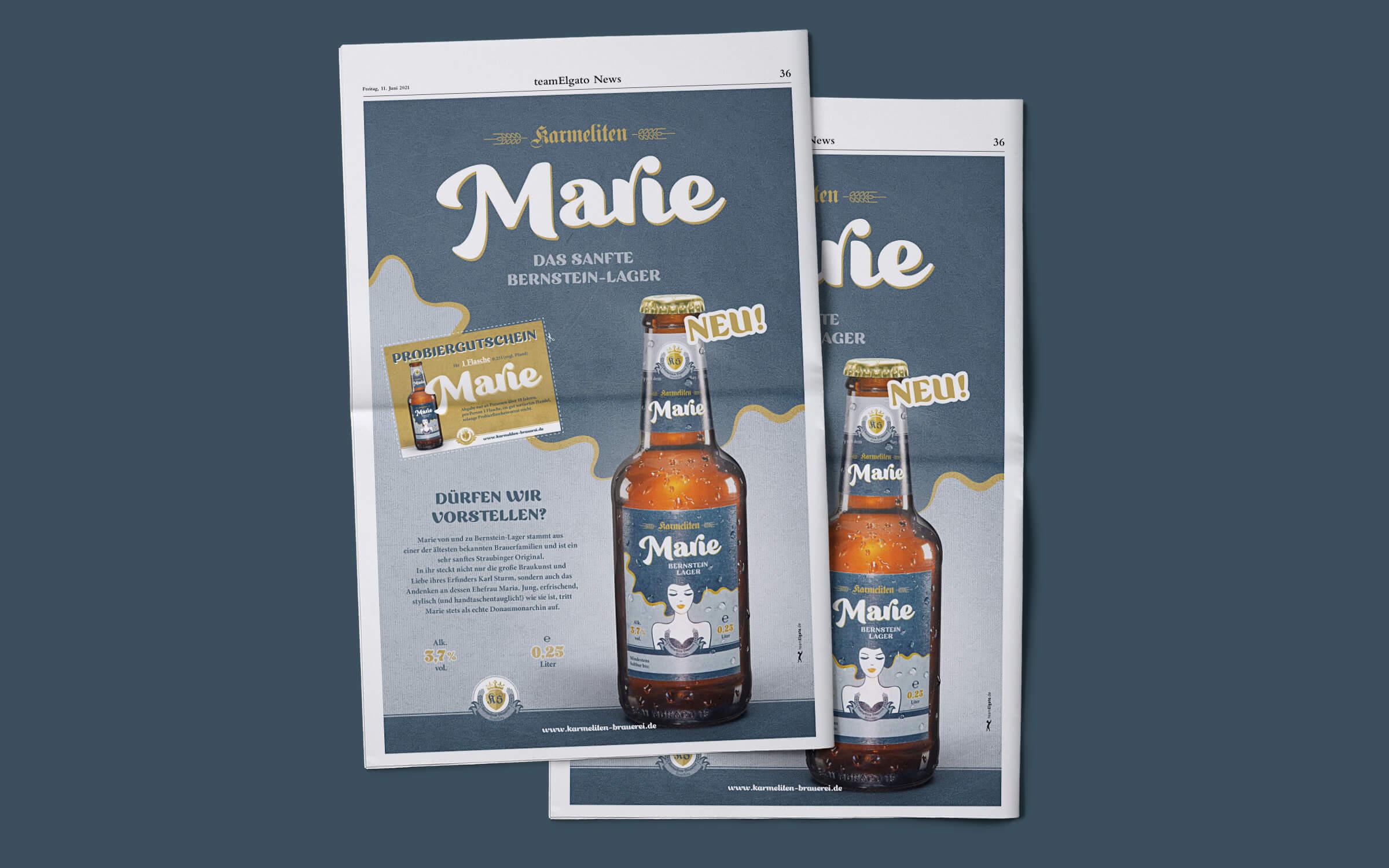 Karmeliten Brauerei – Marie Zeitungsanzeige