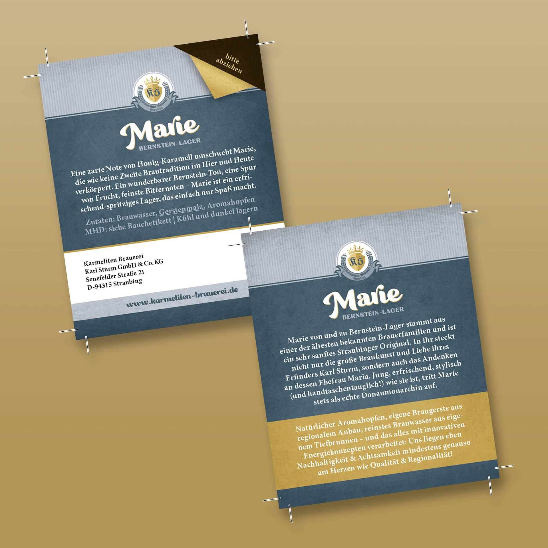 Karmeliten Brauerei – Marie Rückenetikett zum Abziehen