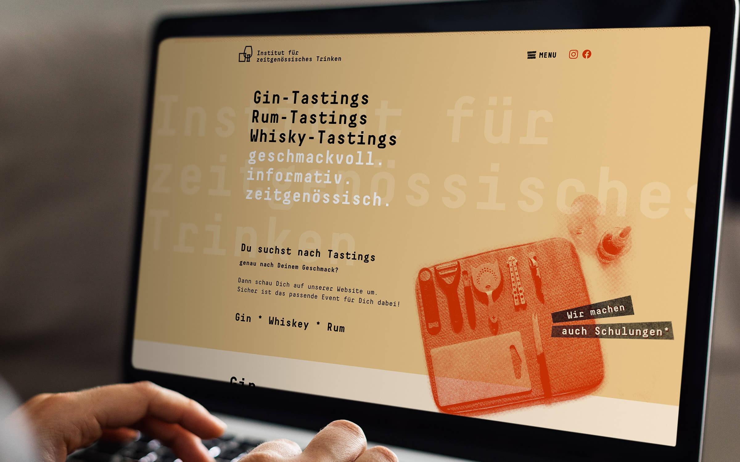 Institut für zeitgenössisches Trinken – Screendesign